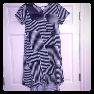 NWOT LuLaRoe Black & Gray Striped Carly Dress